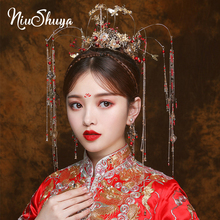 NiuShuya Luxury Traditional Chinese Bridal Headdress Beaded Ancient Gold Long Tassels Hairwear Wedding Jewelry Hair Accessories phoenix wedding hair jewelry chinese style handmade red crystal bridal jewelry animal headdress tassels hair accessories
