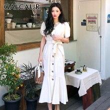 GALCAUR Mermaid Dress For Women V Neck Short Sleeve High Waist Lace Up Ruffles M