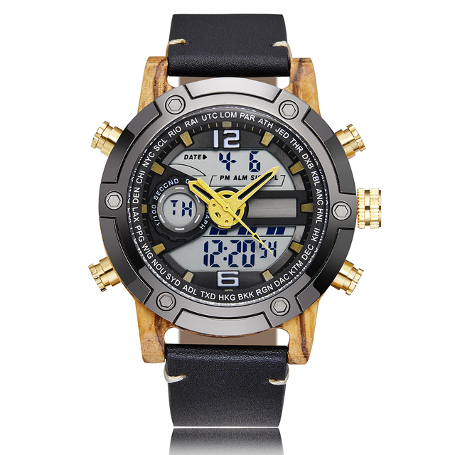LED Digital Watch Men Wood Wristwatch Fashion Multi-function Quartz Digital Display Date Leather Military Sport Wooden Relogio 1