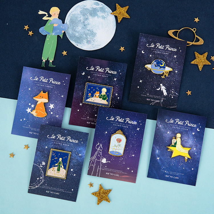 The Little Prince Theme Creative Metal Badge Gift 6 Designs Mixed Lovely Stationery Free Shipping