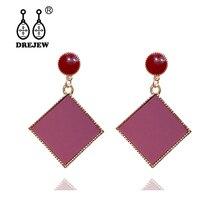 DREJEW Wine Red Green Geometric Square Acrylic Statement Earrings 2019 925 Drop for Women Fashion Wedding Jewelry HE838