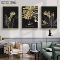 مجردة الذهبي أوراق النبات الرسم على لوحات القماش الجدارية الشمال المشارك و يطبع جدار صور لغرفة المعيشة الحديثة ديكور فني للمنزل