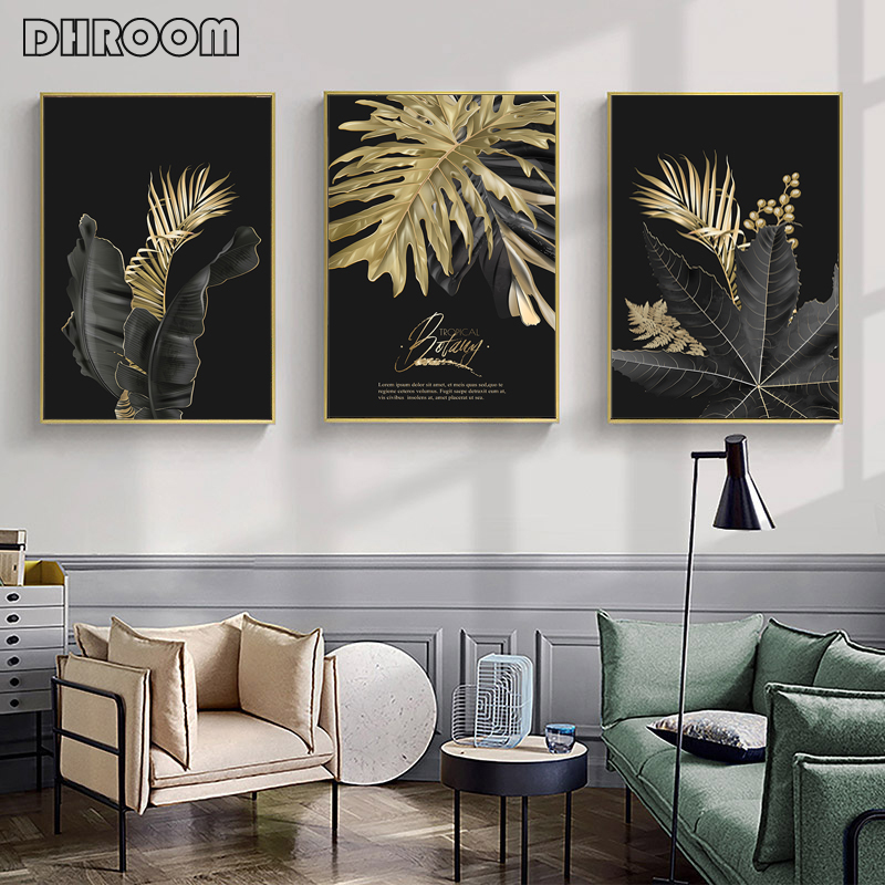 Abstract Golden Leaf Plant Wall Art Canvas Painting Nordic Poster And Prints Wall Pictures For Living Room Modern Art Home Decor