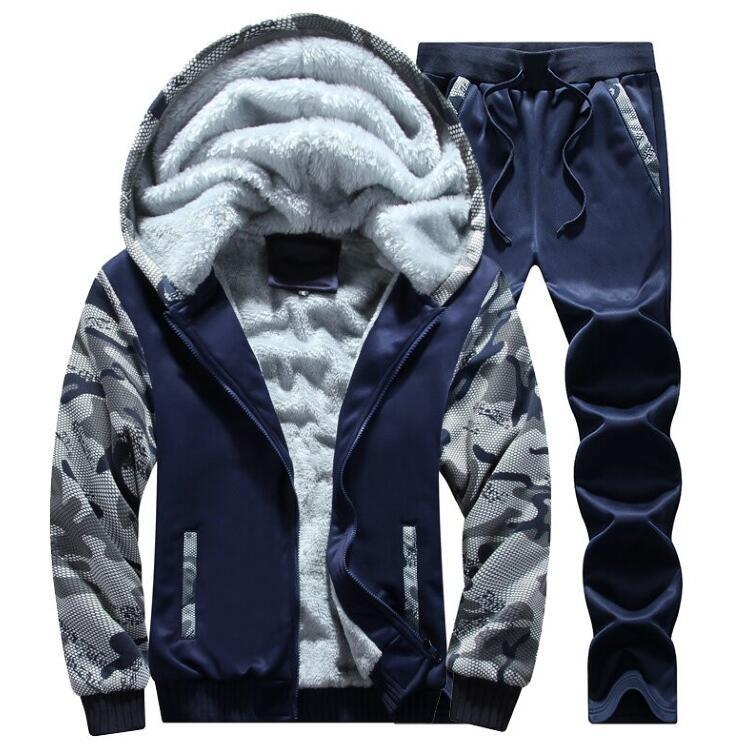 Men's Tracksuit Winter Mens Warm Set Fleece Track Suits For Men Tracksuit Brand Thicken Clothing Mens Suits Male Big Size 4XL