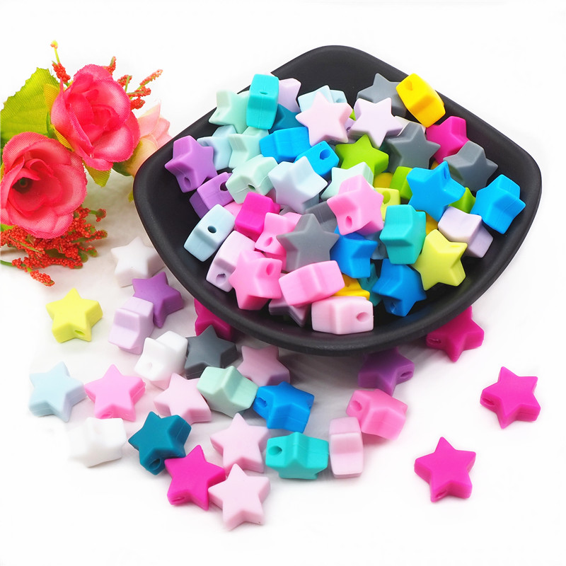 Chenkai 50pcs 15mm Silicone Star Teether Beads DIY Baby Shower Pacifier Dummy Nursing Jewelry Toy Making Beads BPA Free