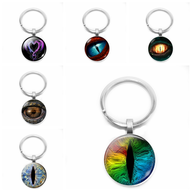 2019 New Frost Dragon Eye Resin Keychain Jewelry, Charm Convex Round Glass Gift