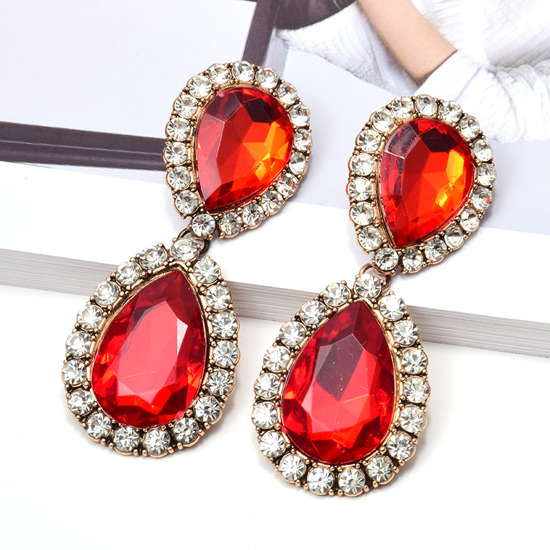 ZA New Dangling Water Drop Shaped Long Earrings Studded With Clear Crystals Fine Jewelry Accessories For Women Wholesale Christmas Gift