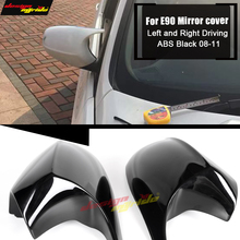 For BMW 3-Series E90 LCI 4-Door Sedan Side Mirror Cover Caps Add on Style ABS Black 1:1 Replacement M3 Look Mirror Cover 2008-11 e90 e91 m3 style grill abs front bumper grille for bmw 3 series 2008 2011 4 door sedan 5 door wagon
