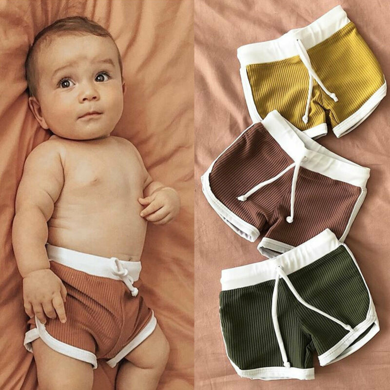 Kids Baby Boys Shorts Knitted Pits Casual Pure Pants Outfits Casual Swim Sports Shorts Summer Beach Girl Shorts Clothes 1-4Years