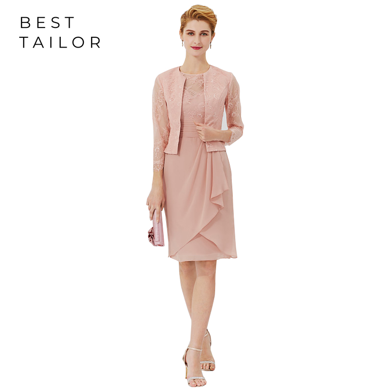 Sheath Mother Of The Bride Dresses For Weddings 2019 With Jacket Wedding Guest Party Blush Chiffon Knee Length Short Madrinha