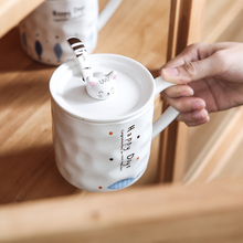 Coffee Mug with Lid Cartoon Cat Coffee Cup Cute Ceramic Cups and Mugs High Temperature Resistance Drinking Cup Couple Milk Mugs cartoon cute cup ceramic about 350ml mug breakfast coffee milk cup couple drinking cup creative student with cup handgrip mugs