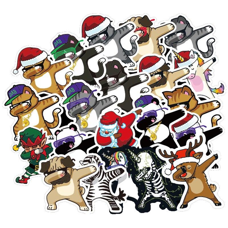 28pcs Dab Hip Hop Animals Cartoon Stickers For Suitcase Skateboard Laptop Luggage Fridge Phone Car Styling DIY Decal Sticker F3