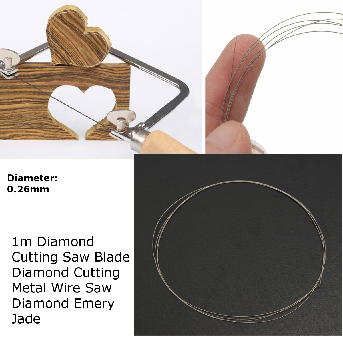 1M Saw Blades Cutting Wire DIY Diamond Cut Wire For Emery Jade Metal Stone Glass Rock Marble Granite Wire Saw Blade Cutting Tool
