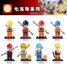 WM6029 Single sale Dragon Ball Orange Dress Yellow Hair Son Goku Model Education Comic s Building Blocks Gift Toys For Children