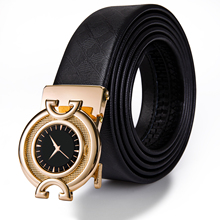 Hi-Tie 2019 New Fashion Gold Mens Belts High Quality Genuine Leather Black Belt Trouser Jeans Male Strap Automatic Buckle