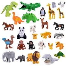 Crianças brinquedos educativos duploed animais conjunto blocos de construção figuras dinossauros crocodilo elefante zoo série presentes diy