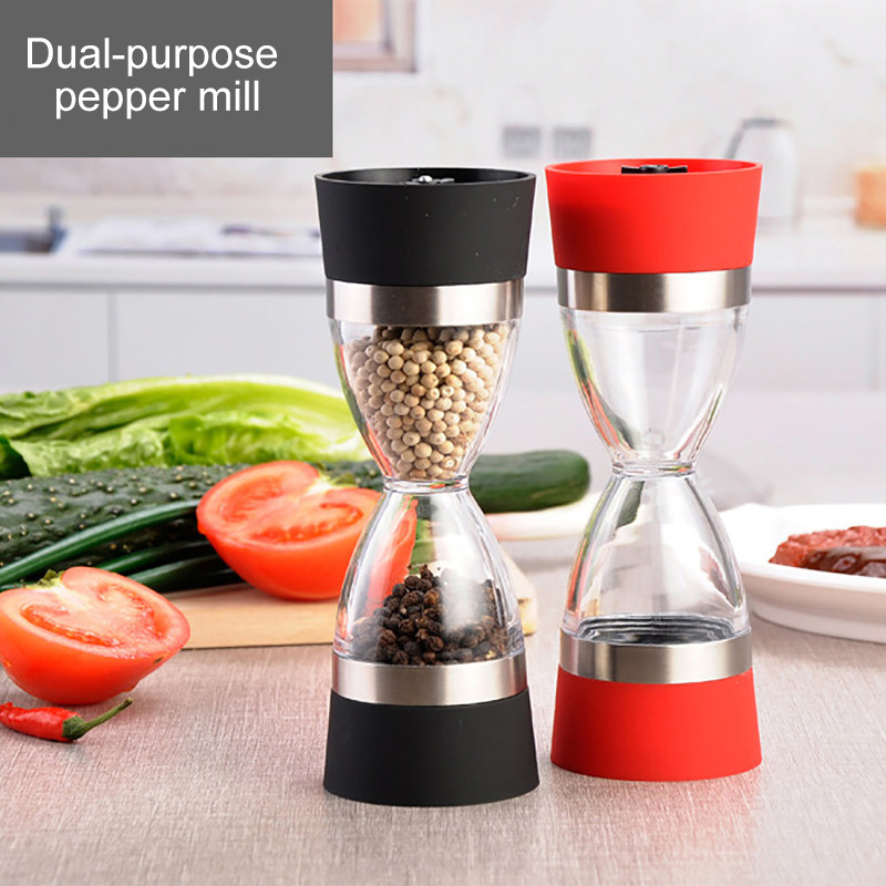 Manually 2 In 1  Shape Dual Salt Pepper Mill Spice Grinder Pepper Shaker For Kitchen Cooking Tools Easy To Clean