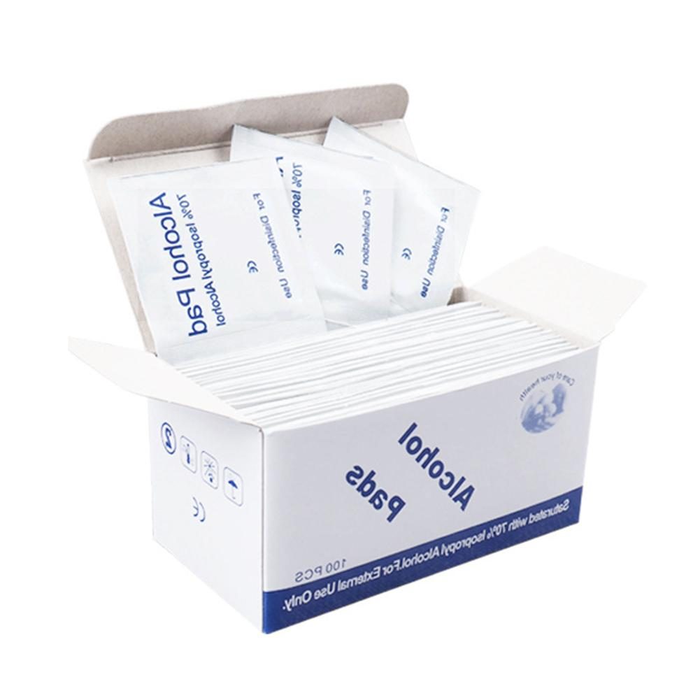 100Pcs Alcohol Pad Disinfection Disposable Cleaning Sterilization Wet Wipes Skin Cleanser First Aid Wipe