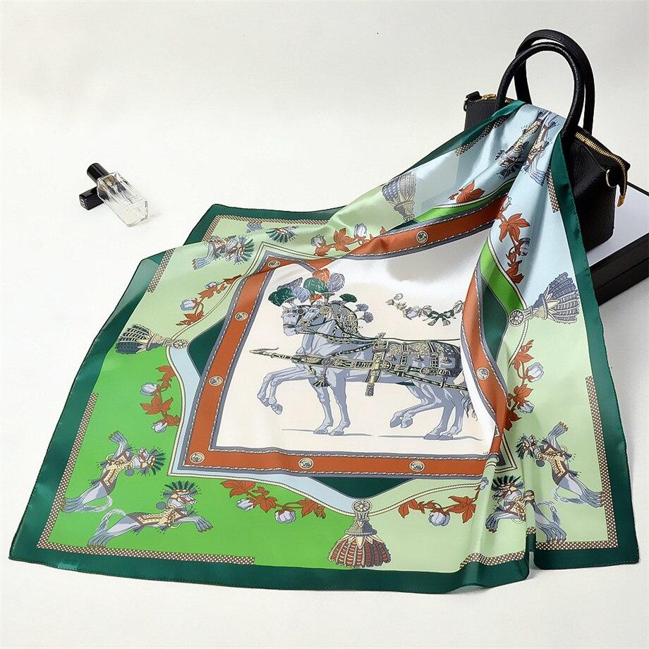 53cm Luxury Brand Square Scarves Horse Print Bandanna Kerchief Neckerchief Turban Silk Feeling Spring Women Scarves For Ladies