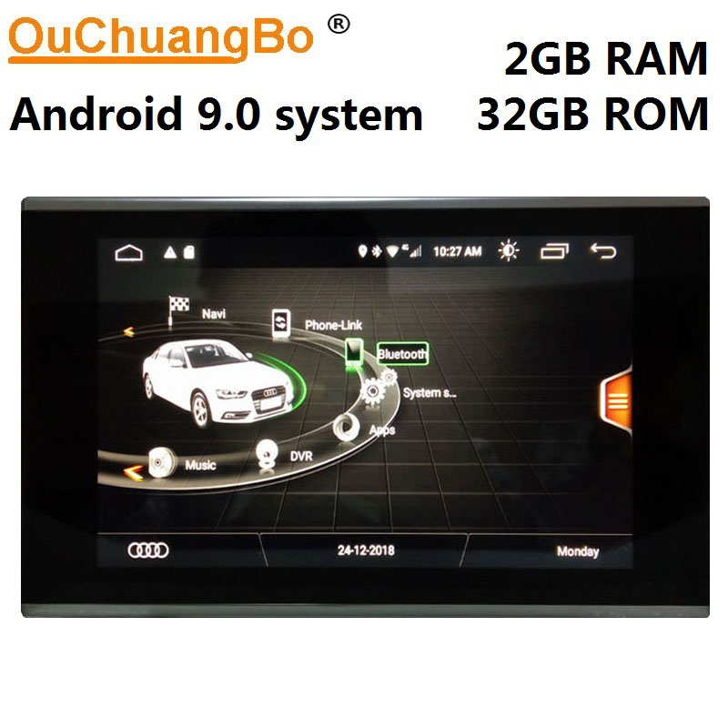 Ouchuangbo multimedia radio recorder for A7 <font><b>A6</b></font> C7 2012-2018 with Android 9.0 <font><b>gps</b></font> <font><b>navigation</b></font> 8.8 inch 2GB RAM 32GB ROM image