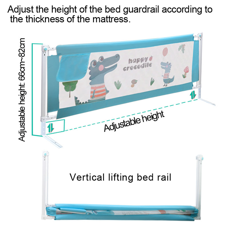Baby Bed Safety Gate with Rails to Protect the Child from Falling Down the Bed while Sleeping or Playing 2