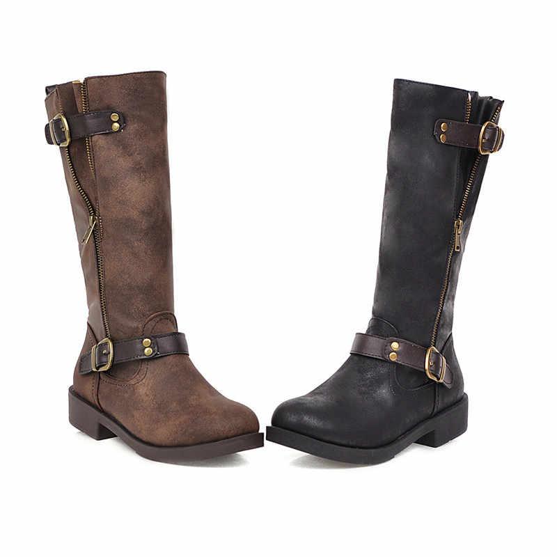MoonMeek büyük boy 34-43 moda orta buzağı çizmeler kadın yuvarlak ayak düşük topuklu sonbahar kış çizmeler rahat sonbahar kışlık botlar
