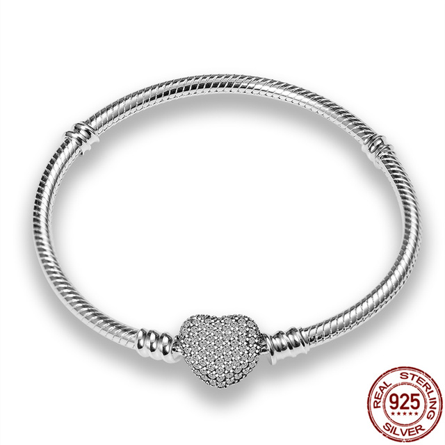 CodeMonkey Hot Sale Classic Series 100% 925 Sterling Silver Heart Bracelet Fit Original Beads Charms DIY Jewelry Gift For Women 5