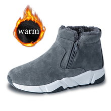 Winter Men Snow Boots Cow Suede Fashion Sneakers Warm Winter Boots Waterproof Male Ankle Boots Booties Fashion Rubber Fur Flock