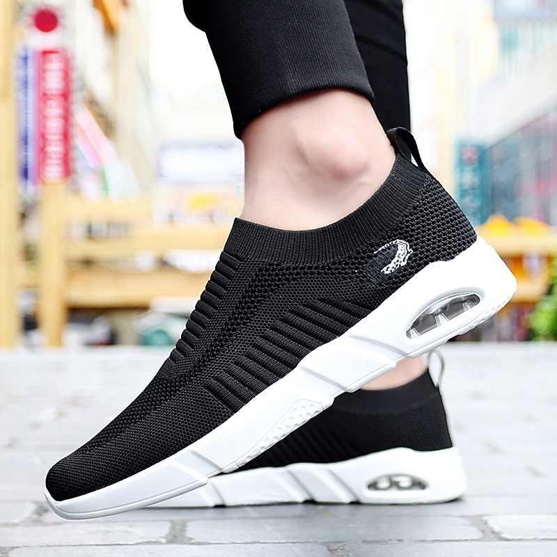 2020 nefes erkekler koşu ayakkabıları erkek örgü yaz Sneaker Casual Slip-on Flats erkek ayakkabısı rahat hafif erkek ayakkabısı