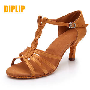 DIPLIP Dance-Shoes Ballroom Latin High-Heels Girls Ladies Salsa Adult Hot Soft 5/7cm