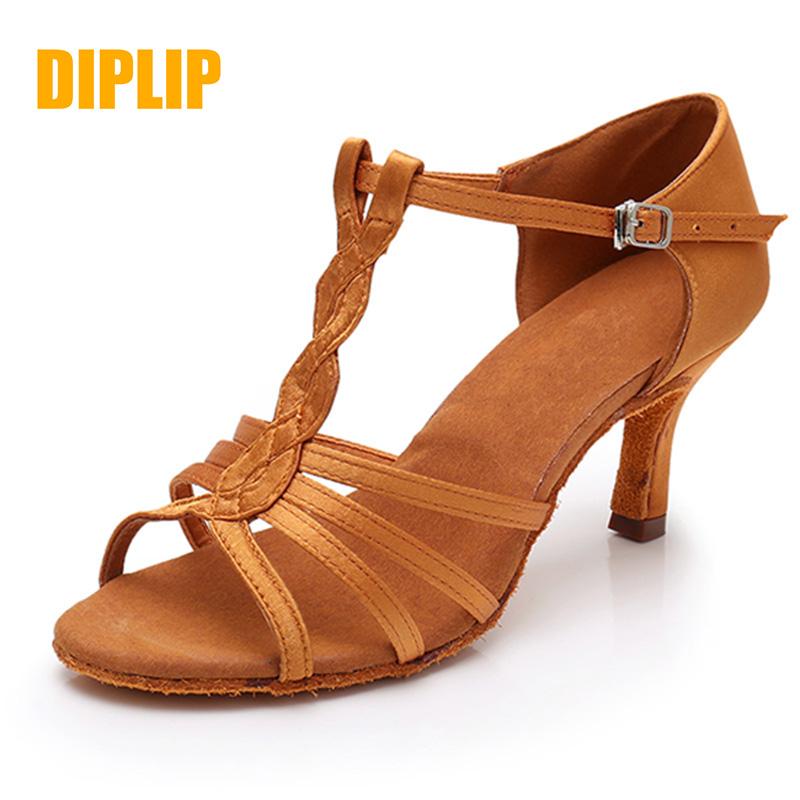 DIPLIP hot ladies Latin dance shoes adult girls ballroom dance soft tango shoes salsa ballroom high heels 5/7cm