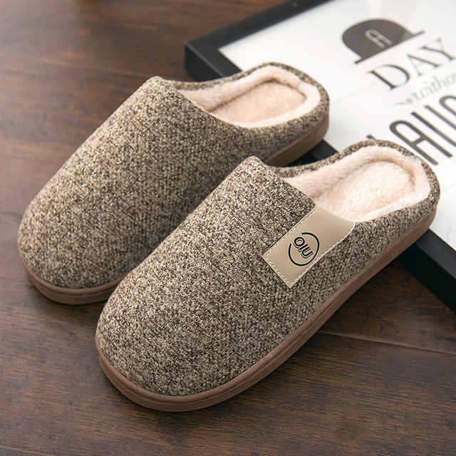 Men Winter Warm Slippers Fur Slippers Men Boys Plush Slipper Cotton Shoes Non-slip Solid Color Home Indoor Casual Slippers 2
