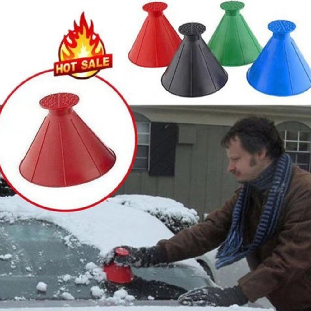 Round Ice Scraper Car Windshield Snow Scraper Funnel Ice Scraper Remove Windshield Snow For Winter Big Horn Shape
