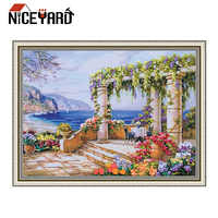 NICEYARD DIY Cross Stitch Painting Kit Needlework Set Ribbon Embroidery Home Decor Landscape Garden Floral Painting