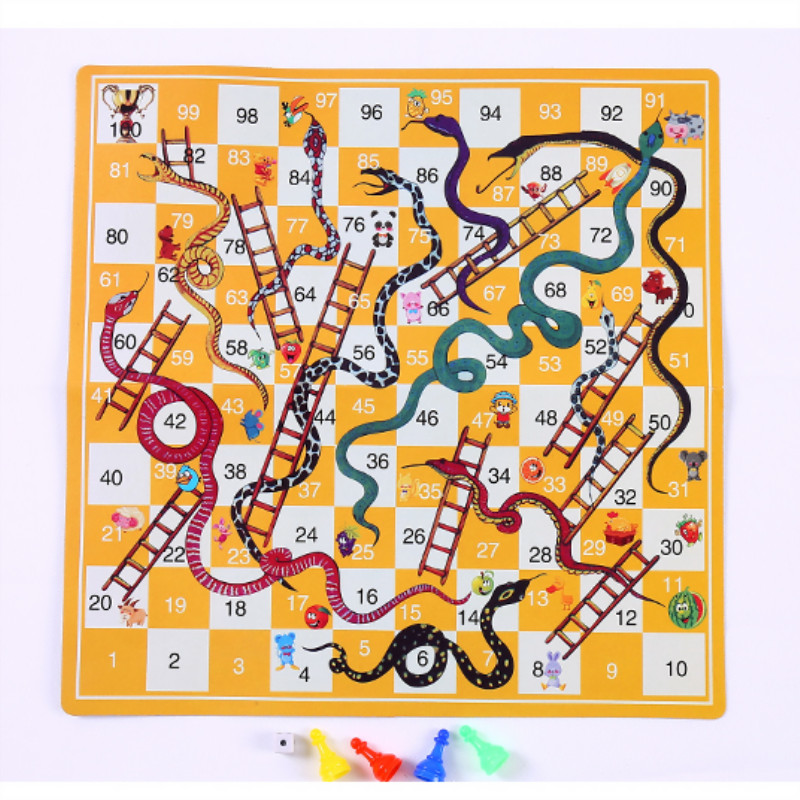 Snake Ladder Educational Kids Children Toys Interesting Board Game Set Portable Flying Chess Board Family Board Game