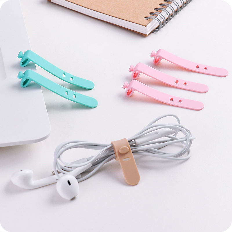 High Quality 4Pcs Silicone <font><b>Cable</b></font> <font><b>Organizer</b></font> Strap Hook Loop <font><b>Cable</b></font> Winder Headphone Cord Earphone <font><b>Organizer</b></font> <font><b>Cable</b></font> Tie Dropship image
