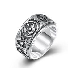 S990 Sterling Silver Ethnic God beast Dragon Rotatable Ring Jewelry Women Men Ring hongclub 2017 new s990 sterling silver ring men jewelry magpie flower wedding brand ring women gift fine jewelry wholesale r18
