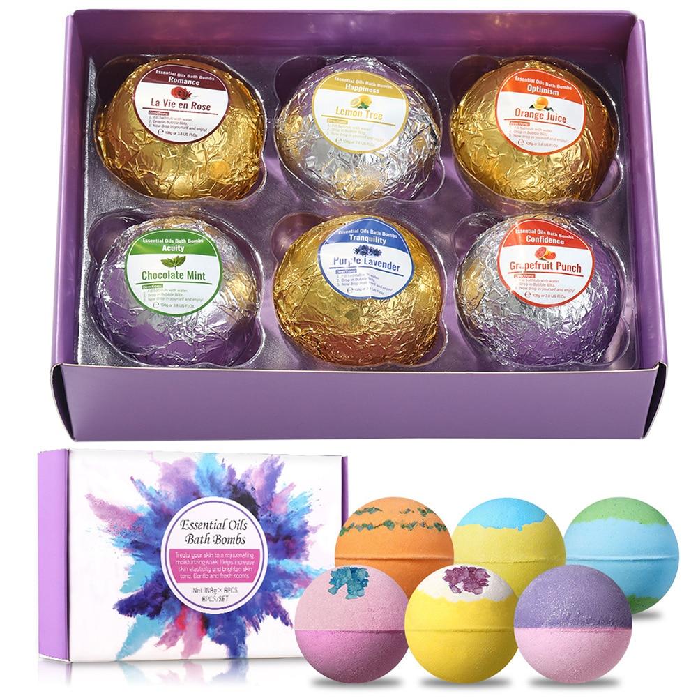 6pcs Natural Organic Bubble Bath Bombs Ball Handmade Bath Salt Ball Fragrance Body Cleaner Bomb Set for Holiday Gifts