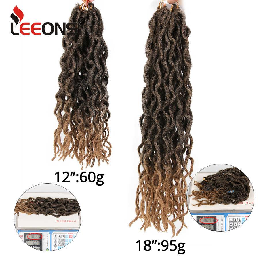 Leeons bogini Faux Locs kręcone szydełkowe warkoczyki Ombre kolorowe włosy plecione miękka krótka szydełkowe włosy Nu Locs krótkie szydełkowe włosy