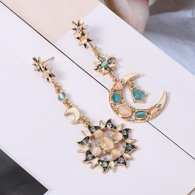 Sun Moon Crystal Long Drop Earrings For Women 2019 New Fashion Rhinestone Asymmetry Dangle Earring Female Wedding Jewelry in Drop Earrings from Jewelry Accessories