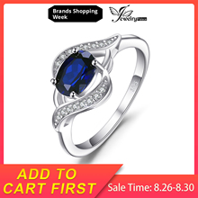JewelryPalace 1.1ct Created Blue Sapphire Statement Halo Ring 925 Sterling Silver Rings Gemstone Jewelry for Women jewelrypalace elegant 2 43ct created alexandrite sapphire cubic zirconia halo adjustable bracelets for women 925 sterling silver