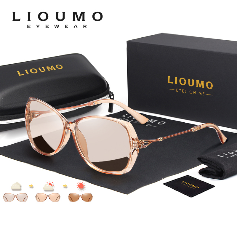 LIOUMO Fashion Design Photochromic Sunglasses For Women Polarized Travel Glasses Oversized Luxury Ladies Eyewear oculos de sol