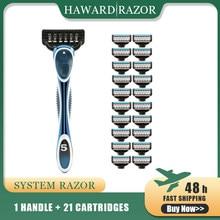 HAWARD maquinilla de afeitar con sistema de 5 hojas para hombre, con cabezal de cuchilla ajustable y cuchillas de precisión, 1 maquinilla de afeitar y 16/20 cartuchos