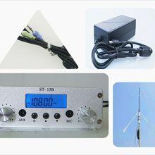15W PLL FM Transmitter Radio Stereo Station Wireless Broadcast+TNC Antenna for Drive-in Church Supermarket School 5W