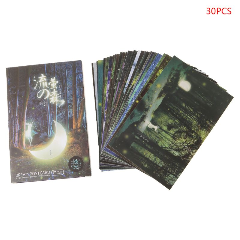 30pcs Vintage Luminous Postcard Glow In The Dark Forest Streamer Animal Greeting Post Card Novelty Xmas Greeting Cards Gift H7EC