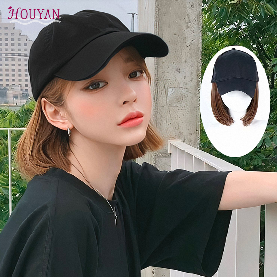 HOUYAN Short Wig For Women Synthetic Wig Baseball Cap Hat With Short Straight Hair Baseball Heat Resistant Fiber Elf Cut Short W