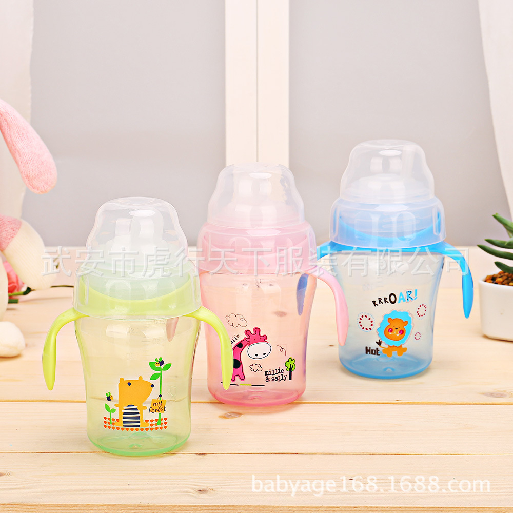 Cartoon Deer Printed 240ml Infant Sippy Cup Baby Training Cup CHILDREN'S Kettle Spouts Sippy Cup