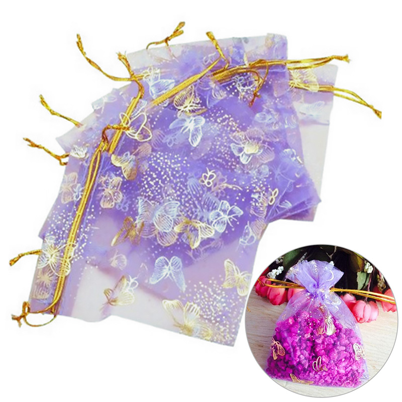 25Pcs Organza Gift Bags Jewellery Drawstring Pouches Wedding Party Candy 10X12cm