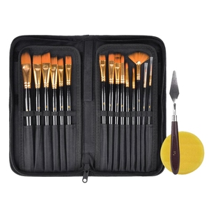 Image 2 - 15Pcs Artist Paint Brush Set Nylon Art Paint Brushes with Case for Gouache, Acrylics, Oil and Watercolor