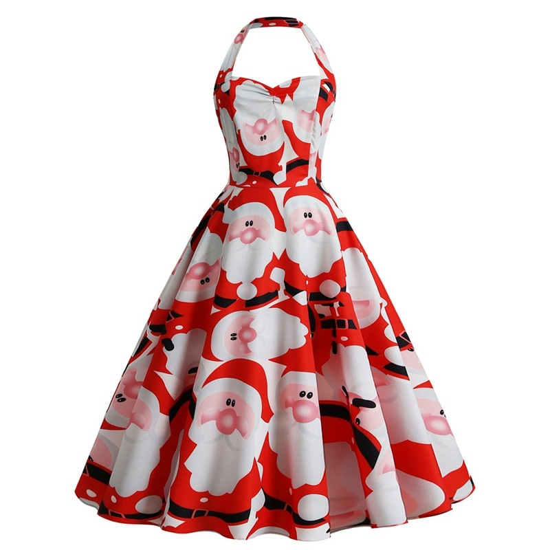 BacklakeGirls Christmas Suit-dress 2019 Sexy Halter Neck Pattern Printing Cocktail Dress Knee Length For Cocktail Party Vestidos